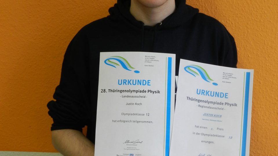 Spitzenergebnis beim Landeswettbewerb der Thüringenolympiade Physik